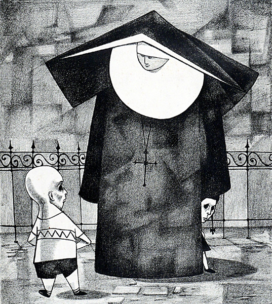 Nun and Boy, 1956, pen and ink on paper
