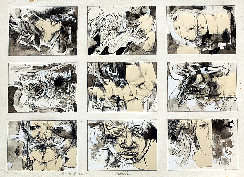 """A Series of Masks, 30"""" x 22"""", pen and ink, mixed media on paper"""