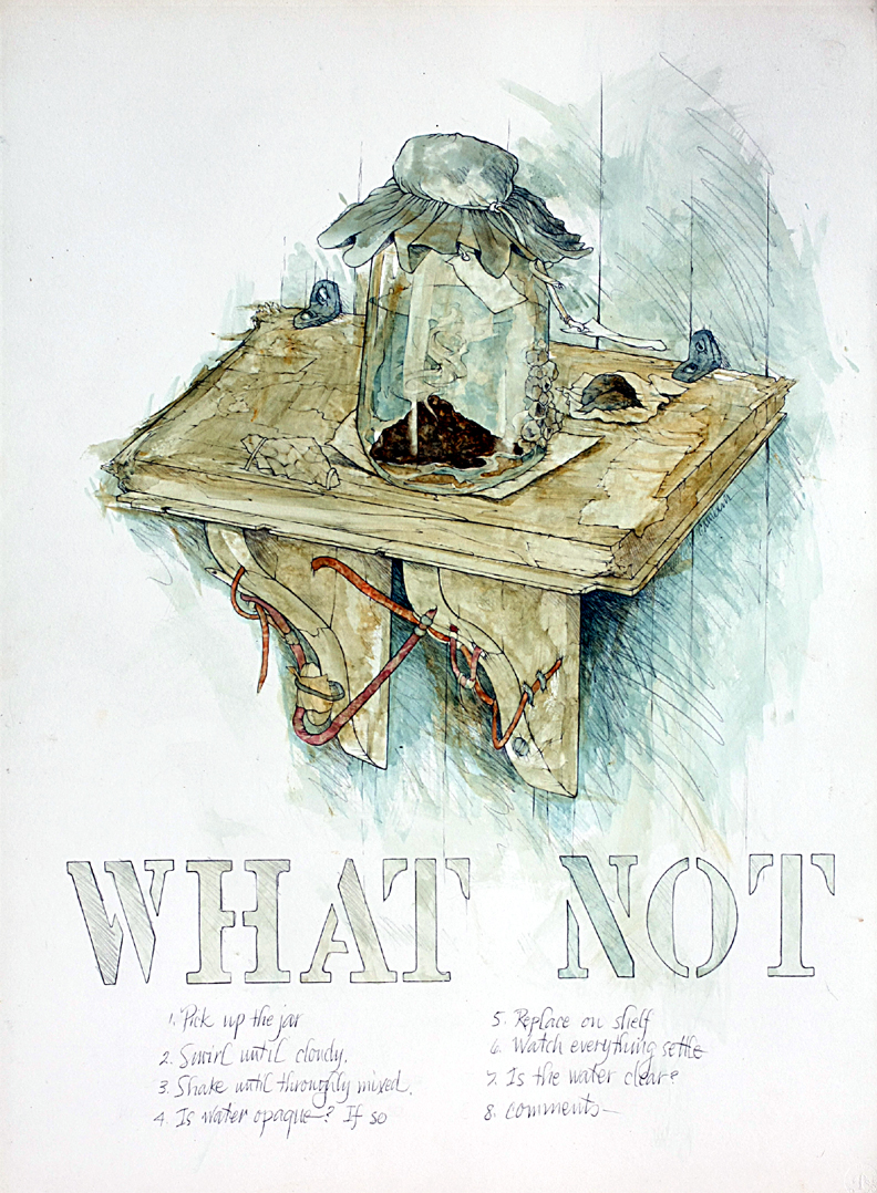 "What Not, 22"" x 30"", pen and ink and watercolor"
