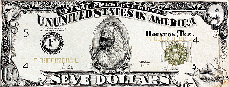 """Seve Dollars, 23.5"""" x 9"""", pen and ink and watercolor on Arches"""