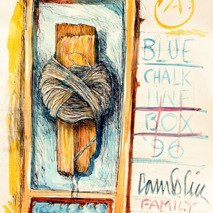 "Title    Blue Chalk Line Box  Date   1996  Dimensions   11 x 14 in.  Signature   ""camblin"", ""A"" Gallery Location   Available for viewing State   Original pen and ink, watercolor Rights   © The Camblin Gallery Caption   ""family objects"""