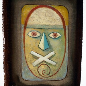 """Title    Mask Series 1  Date   c. 2000s  Dimensions   10 x 14 in. Signature  """"BC"""" Gallery Location   Available for viewing State   Original watercolor Rights   © The Camblin Gallery"""