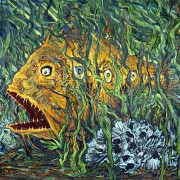 "Title   Devil Fish Date   1993 Dimensions   23 x 30 in. Signature   ""BC"" ""JACK O'LANTERN '93"" Gallery Location   Available for viewing State   Original Rights   © The Camblin Gallery"