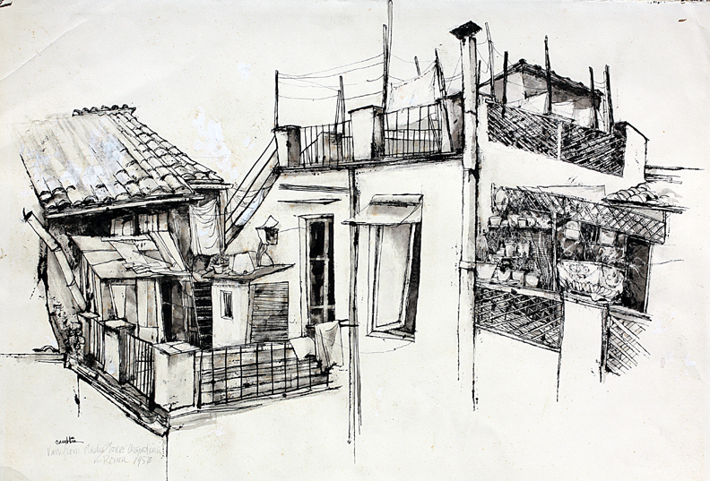 """Title    Studio Torre  Date   1957  Dimensions   23 x 16 in. Signature  """"Camblin"""" Gallery Location   Available for viewing State   Original pen and ink Rights   © The Camblin Gallery"""