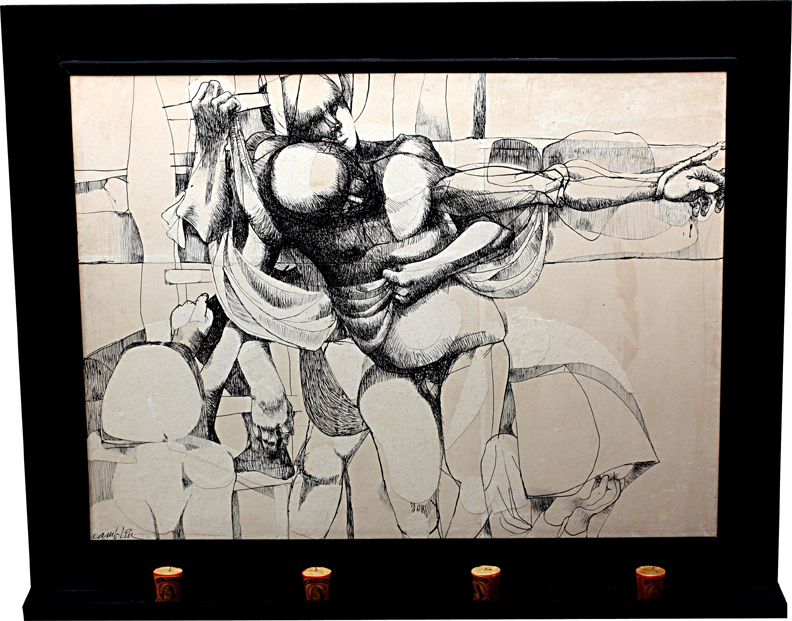 """Descent From The Cross, 47.5"""" x 35.5"""", pen and ink, mixed media"""